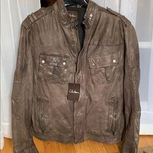 Men's XXL Cole Haan Brown Leather Jacket